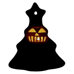 Funny Spooky Scary Halloween Pumpkin Jack O Lantern Christmas Tree Ornament (two Sides) by HalloweenParty