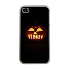 Funny Spooky Scary Halloween Pumpkin Jack O Lantern Apple Iphone 4 Case (clear)