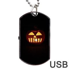Funny Spooky Scary Halloween Pumpkin Jack O Lantern Dog Tag Usb Flash (one Side) by HalloweenParty