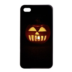 Funny Spooky Scary Halloween Pumpkin Jack O Lantern Apple Iphone 4/4s Seamless Case (black) by HalloweenParty