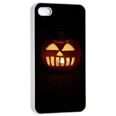 Funny Spooky Scary Halloween Pumpkin Jack O Lantern Apple Iphone 4/4s Seamless Case (white) by HalloweenParty