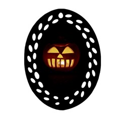 Funny Spooky Scary Halloween Pumpkin Jack O Lantern Oval Filigree Ornament (two Sides)