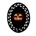 Funny Spooky Scary Halloween Pumpkin Jack O Lantern Oval Filigree Ornament (Two Sides) Front