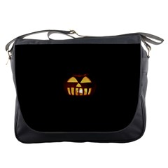 Funny Spooky Scary Halloween Pumpkin Jack O Lantern Messenger Bag by HalloweenParty