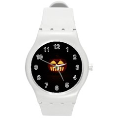 Funny Spooky Scary Halloween Pumpkin Jack O Lantern Round Plastic Sport Watch (m) by HalloweenParty