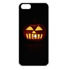 Funny Spooky Scary Halloween Pumpkin Jack O Lantern Apple Iphone 5 Seamless Case (white)