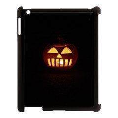 Funny Spooky Scary Halloween Pumpkin Jack O Lantern Apple Ipad 3/4 Case (black)