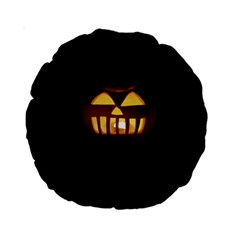 Funny Spooky Scary Halloween Pumpkin Jack O Lantern Standard 15  Premium Round Cushions