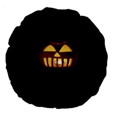 Funny Spooky Scary Halloween Pumpkin Jack O Lantern Large 18  Premium Round Cushions