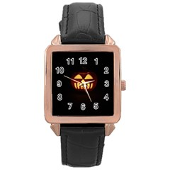 Funny Spooky Scary Halloween Pumpkin Jack O Lantern Rose Gold Leather Watch
