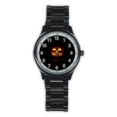 Funny Spooky Scary Halloween Pumpkin Jack O Lantern Stainless Steel Round Watch