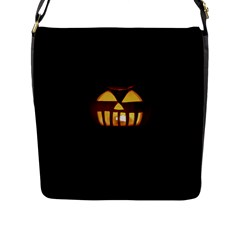 Funny Spooky Scary Halloween Pumpkin Jack O Lantern Flap Closure Messenger Bag (l) by HalloweenParty