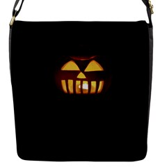 Funny Spooky Scary Halloween Pumpkin Jack O Lantern Flap Closure Messenger Bag (s) by HalloweenParty
