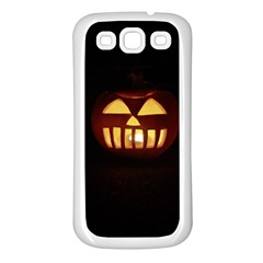 Funny Spooky Scary Halloween Pumpkin Jack O Lantern Samsung Galaxy S3 Back Case (White)