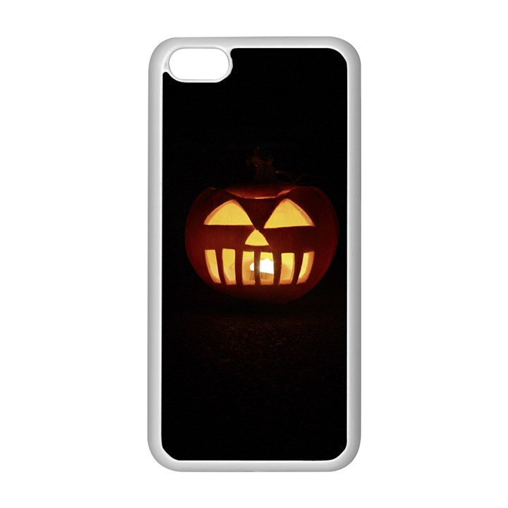 Funny Spooky Scary Halloween Pumpkin Jack O Lantern Apple iPhone 5C Seamless Case (White)