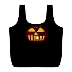 Funny Spooky Scary Halloween Pumpkin Jack O Lantern Full Print Recycle Bag (L)