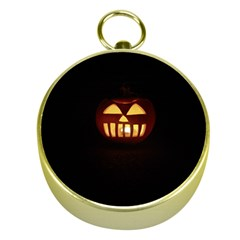 Funny Spooky Scary Halloween Pumpkin Jack O Lantern Gold Compasses
