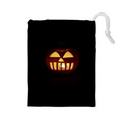 Funny Spooky Scary Halloween Pumpkin Jack O Lantern Drawstring Pouch (Large)