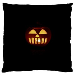 Funny Spooky Scary Halloween Pumpkin Jack O Lantern Large Flano Cushion Case (Two Sides)