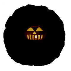 Funny Spooky Scary Halloween Pumpkin Jack O Lantern Large 18  Premium Flano Round Cushions