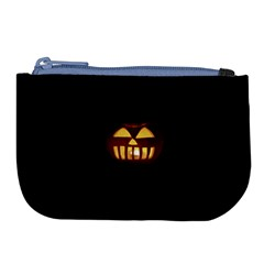 Funny Spooky Scary Halloween Pumpkin Jack O Lantern Large Coin Purse by HalloweenParty