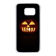 Funny Spooky Scary Halloween Pumpkin Jack O Lantern Samsung Galaxy S7 White Seamless Case