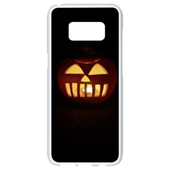 Funny Spooky Scary Halloween Pumpkin Jack O Lantern Samsung Galaxy S8 White Seamless Case