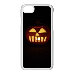 Funny Spooky Scary Halloween Pumpkin Jack O Lantern Apple iPhone 8 Seamless Case (White)