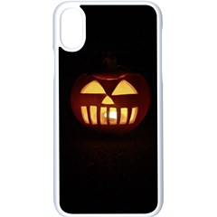 Funny Spooky Scary Halloween Pumpkin Jack O Lantern Apple iPhone X Seamless Case (White)