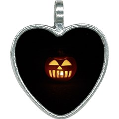 Funny Spooky Scary Halloween Pumpkin Jack O Lantern Heart Necklace by HalloweenParty