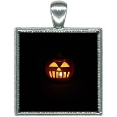 Funny Spooky Scary Halloween Pumpkin Jack O Lantern Square Necklace by HalloweenParty