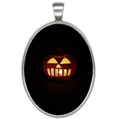 Funny Spooky Scary Halloween Pumpkin Jack O Lantern Oval Necklace by HalloweenParty