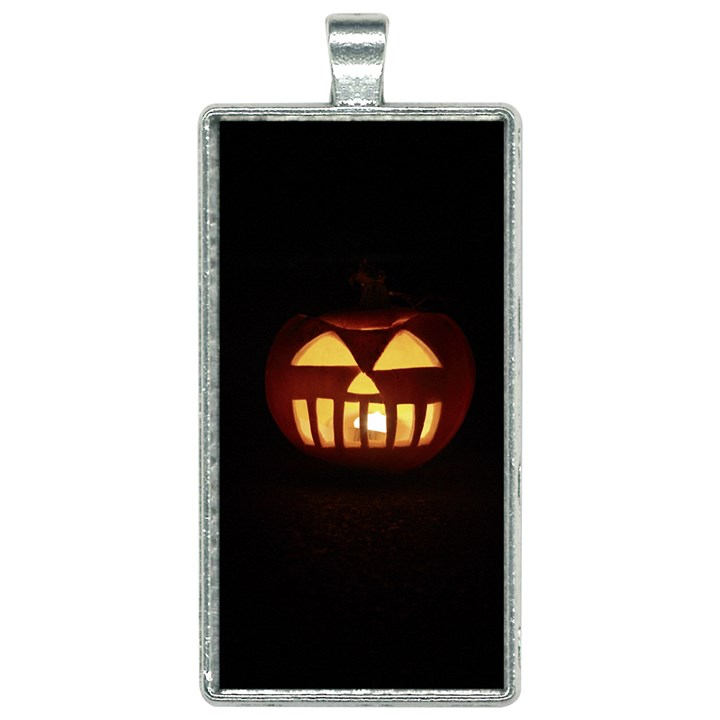 Funny Spooky Scary Halloween Pumpkin Jack O Lantern Rectangle Necklace