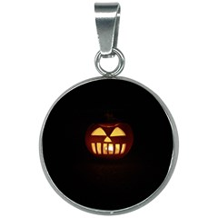Funny Spooky Scary Halloween Pumpkin Jack O Lantern 20mm Round Necklace