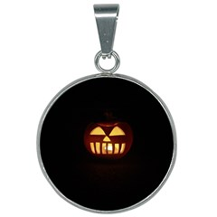Funny Spooky Scary Halloween Pumpkin Jack O Lantern 25mm Round Necklace by HalloweenParty