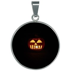 Funny Spooky Scary Halloween Pumpkin Jack O Lantern 30mm Round Necklace by HalloweenParty