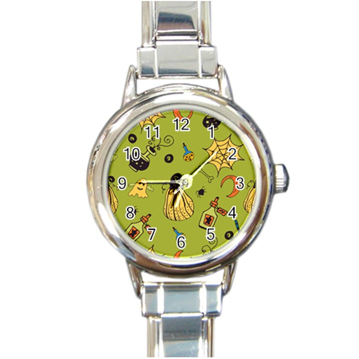Funny Scary Spooky Halloween Party Design Round Italian Charm Watch