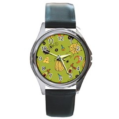 Funny Scary Spooky Halloween Party Design Round Metal Watch