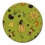 Funny Scary Spooky Halloween Party Design Round Mousepads Front