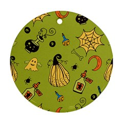 Funny Scary Spooky Halloween Party Design Ornament (round)
