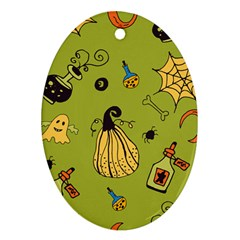 Funny Scary Spooky Halloween Party Design Ornament (oval) by HalloweenParty