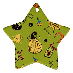 Funny Scary Spooky Halloween Party Design Ornament (star)