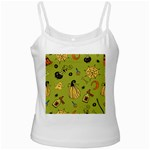 Funny Scary Spooky Halloween Party Design White Spaghetti Tank Front