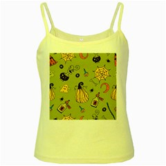 Funny Scary Spooky Halloween Party Design Yellow Spaghetti Tank