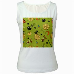 Funny Scary Spooky Halloween Party Design Women s White Tank Top
