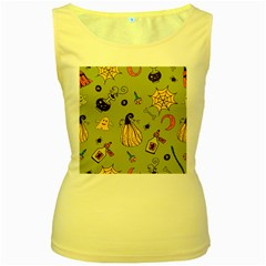 Funny Scary Spooky Halloween Party Design Women s Yellow Tank Top