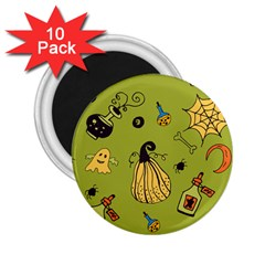 Funny Scary Spooky Halloween Party Design 2 25  Magnets (10 Pack)