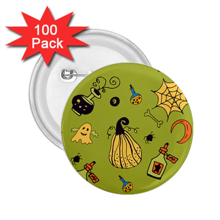 Funny Scary Spooky Halloween Party Design 2.25  Buttons (100 pack)