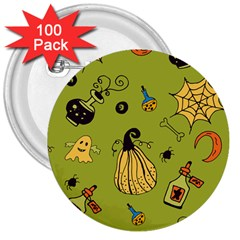 Funny Scary Spooky Halloween Party Design 3  Buttons (100 Pack)
