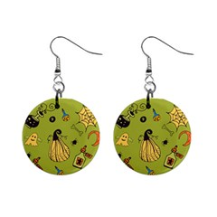 Funny Scary Spooky Halloween Party Design Mini Button Earrings